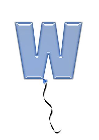 come in: The letter W, in the alphabet set Balloon Jewels, resembles an inflated balloon tied at the knot with a black curly string.  Letters, in set, come in a mixture of colors and tilting angles.