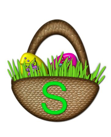 The letter S, in the alphabet set Easter Basket, sits on brown basket with handle.  Colorful Easter eggs sit in lush, green grass inside basket. Stock Photo