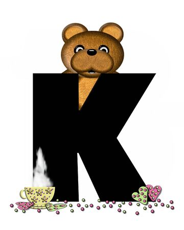 frosted: The letter K, in the alphabet set Teddy Tea Time, is black.  Teddy bear enjoys a cup of hot tea with heart shaped and frosted cookies.  Candy sprinkles cover floor.