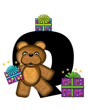 gift wrapped: The letter Q, in the alphabet set Teddy Gifts Galore, is black.  Teddy bear, gift wrapped packages and stars decorate letter.