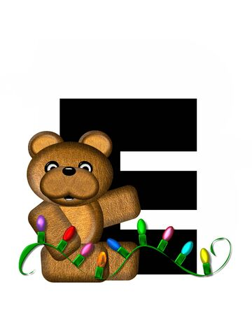 teddy bear christmas: The letter E, in the alphabet set Teddy Christmas Lights, is black. Teddy Bear holds a string of Christmas lights and decorates letter.