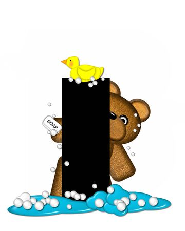 bathtime: The letter I, in the alphabet set Teddy Bath Time, is black and sits on a pool of spilled bath water.  Brown teddy bear, bubbles and yellow duck decorate letter.