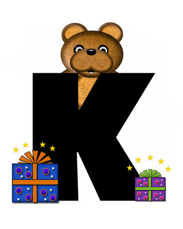 gift wrapped: The letter K, in the alphabet set Teddy Gifts Galore, is black.  Teddy bear, gift wrapped packages and stars decorate letter.