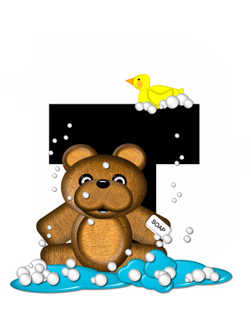 bathtime: The letter T, in the alphabet set Teddy Bath Time, is black and sits on a pool of spilled bath water.  Brown teddy bear, bubbles and yellow duck decorate letter.