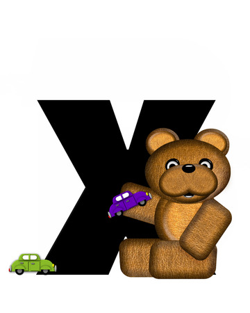 The letter X, in the alphabet set Teddy Driving Cars, is black. Teddy bear decorates letter and drives his toy cars.
