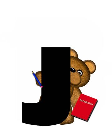 studious: The letter J, in the alphabet set Teddy Learning, is black. Teddy bear decorates letter and he is wearing glasses.  Books and pencils surround him. Stock Photo