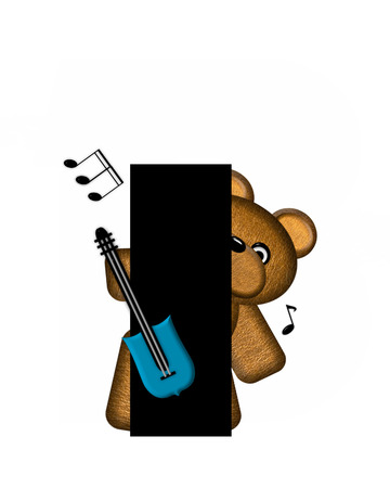 The letter I, in the alphabet set Teddy Guitar Music, is black.  Teddy bear, electric guitar and musical notes decorate letter.
