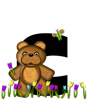 picking: The letter C, in the alphabet set Teddy Picking Flowers, is black.  Teddy bear picks tulips and butterfly flutters overhead.