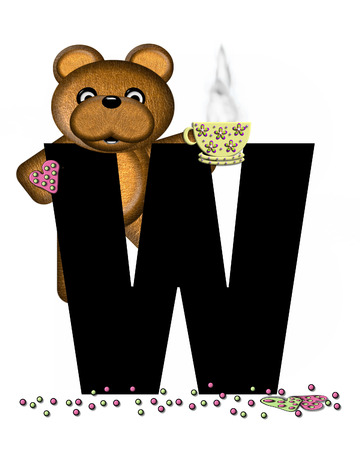 frosted: The letter W, in the alphabet set Teddy Tea Time, is black.  Teddy bear enjoys a cup of hot tea with heart shaped and frosted cookies.  Candy sprinkles cover floor. Stock Photo