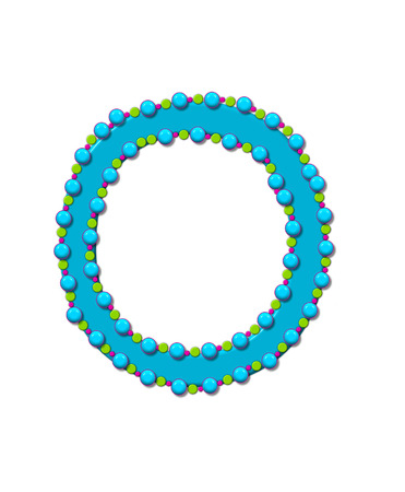 bead: Letter O from Bead Alphabet is bright turquoise in color.  Letter is outlined completly in pink, turquoise and green beads and balls. Stock Photo