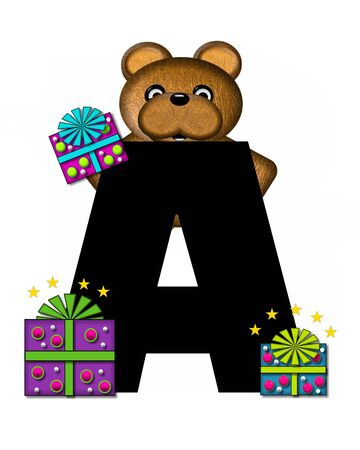 gift wrapped: The letter A, in the alphabet set Teddy Gifts Galore, is black.  Teddy bear, gift wrapped packages and stars decorate letter.