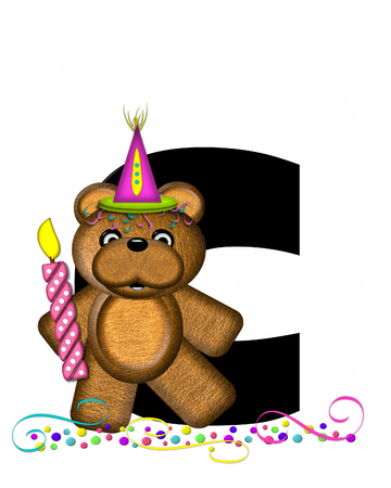 The letter C, in the alphabet set Teddy Party Time, is black.  Teddy bear, party hat, candle and confetti decorate letter.