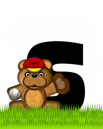 bear s: The letter S, in the alphabet set Teddy Baseball, is black and sits on baseball field of green grass.  Brown teddy bear, baseball, cap and glove decorate letter. Stock Photo