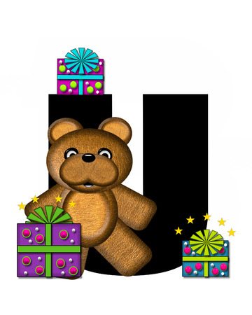 gift wrapped: The letter U, in the alphabet set Teddy Gifts Galore, is black.  Teddy bear, gift wrapped packages and stars decorate letter. Stock Photo