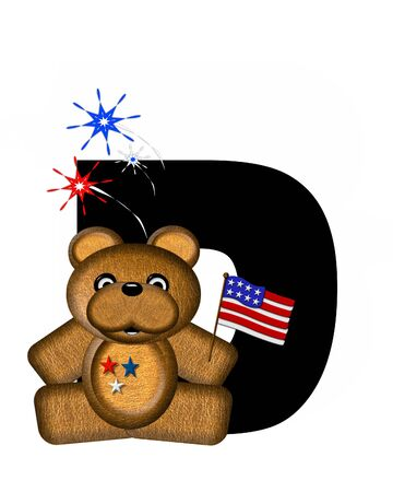 The letter D, in the alphabet set Teddy 4th of July, is black.  Brown teddy bear holds American flag.  Fireworks in red, white and blue explode around him.
