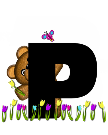 picking: The letter P, in the alphabet set Teddy Picking Flowers, is black.  Teddy bear picks tulips and butterfly flutters overhead.