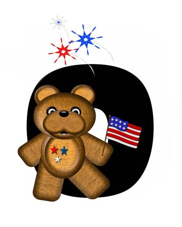 independance day: The letter O, in the alphabet set Teddy 4th of July, is black.  Brown teddy bear holds American flag.  Fireworks in red, white and blue explode around him.