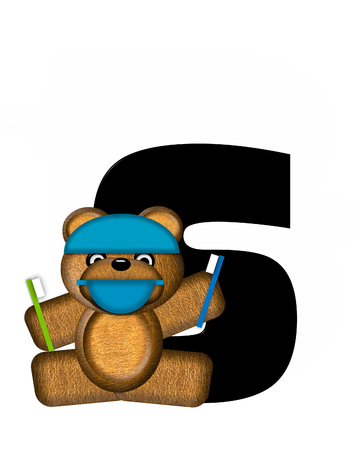 bear s: The letter S, in the alphabet set Teddy Dental Checkup, is black.  Teddy bear wearing a dental mask and hat represents dentist holding various dental tools. Stock Photo
