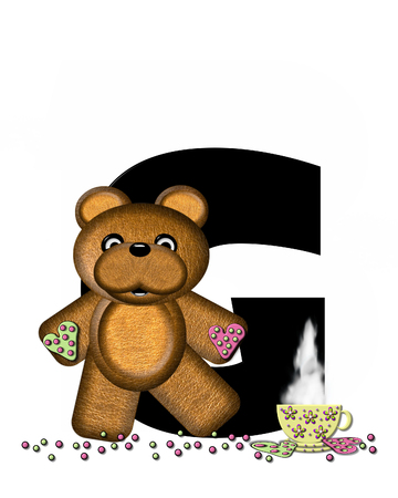 frosted: The letter G, in the alphabet set Teddy Tea Time, is black.  Teddy bear enjoys a cup of hot tea with heart shaped and frosted cookies.  Candy sprinkles cover floor.