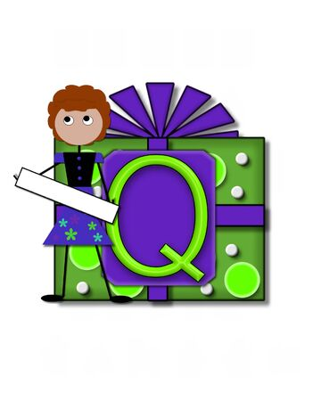 The letter Q, in the alphabet set All Occasion, labels the front of a gift box complete with bow.  A stick figure stands besides gift box holding a blank sign to be labeled with your special occasion.