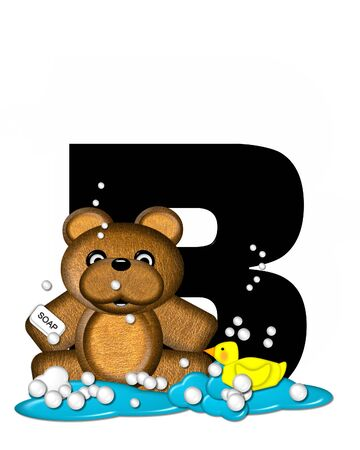 bath time: The letter B, in the alphabet set Teddy Bath Time, is black and sits on a pool of spilled bath water.  Brown teddy bear, bubbles and yellow duck decorate letter. Stock Photo