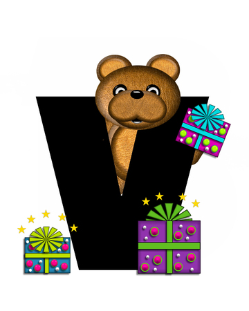 gift wrapped: The letter V, in the alphabet set Teddy Gifts Galore, is black.  Teddy bear, gift wrapped packages and stars decorate letter. Stock Photo