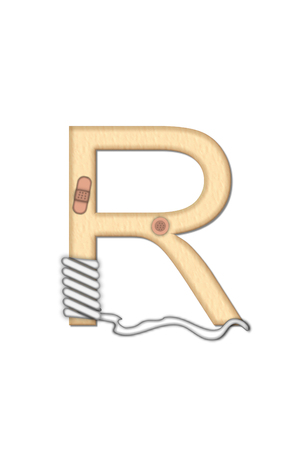 bandaged: Alphabet letter R, in the set Boo Boo, is tan to represent the color of skin.  Each letter is bandaged and has bandaids applied.  Strips of guaze and scissors also decorate letters.