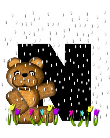 april showers: The letter N, in the alphabet set Teddy April Showers, is black.  Brown teddy bear and flowers decorate letter.  Tulips bloom as April showers fall. Stock Photo
