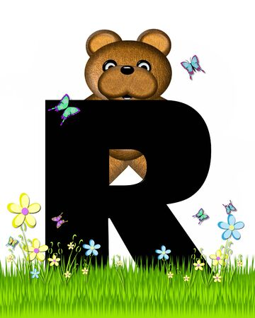 grassy field: The letter R, in the alphabet set Teddy Butterfly Field, is black.  Teddy bear chases colorful butterflies across a grassy field with wildflowers. Stock Photo