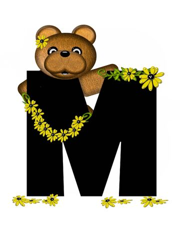 The letter M, in the alphabet set Teddy Making Daisy Chain, is black.  Teddy bear gathers daisies to make yellow daisy chains. Stock Photo