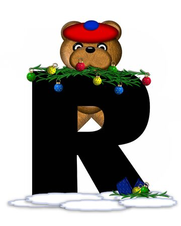 boughs: The letter R, in the alphabet set Teddy Christmas Boughs, is black and sits on pile of snow.  Teddy Bear wearing cap and mittens, decorates letter with Christmas boughs and ornaments. Stock Photo