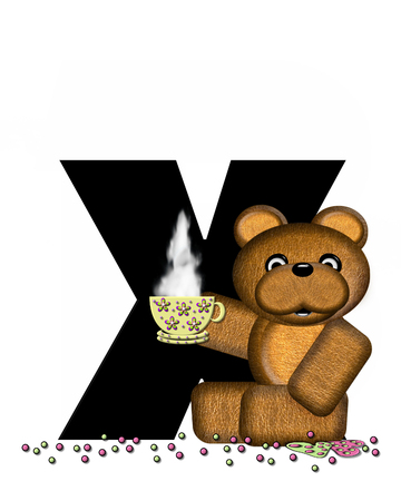 frosted: The letter X, in the alphabet set Teddy Tea Time, is black.  Teddy bear enjoys a cup of hot tea with heart shaped and frosted cookies.  Candy sprinkles cover floor.