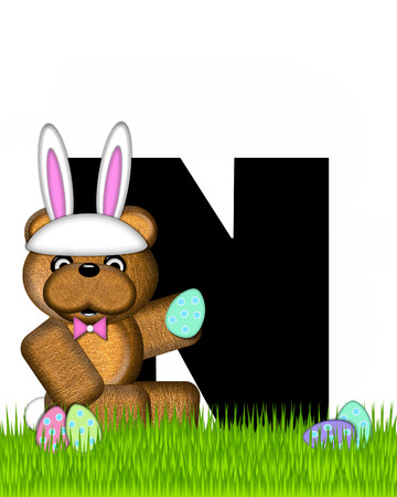wears: The letter N, in the alphabet set Teddy Easter, is black. Teddy wears an Easter Rabbit costume and hunts Easter Eggs hidden in the grass.
