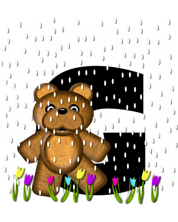 showers: The letter G, in the alphabet set Teddy April Showers, is black.  Brown teddy bear and flowers decorate letter.  Tulips bloom as April showers fall.
