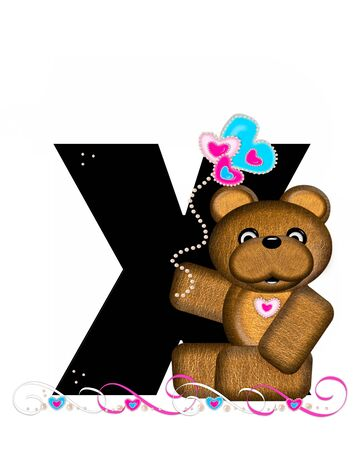 cutie: The letter X, in the alphabet set Teddy Valentines Cutie, is black.  Brown teddy bear holds heart shaped balloons in pink and blue.  String of pearls serve as string.