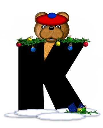 boughs: The letter K, in the alphabet set Teddy Christmas Boughs, is black and sits on pile of snow.  Teddy Bear wearing cap and mittens, decorates letter with Christmas boughs and ornaments.