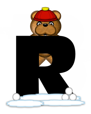 wintertime: The letter R, in the alphabet set Teddy Wintertime, is black. Teddy stands on snow making and throwing snowballs.  He is wearing a red cap. Stock Photo