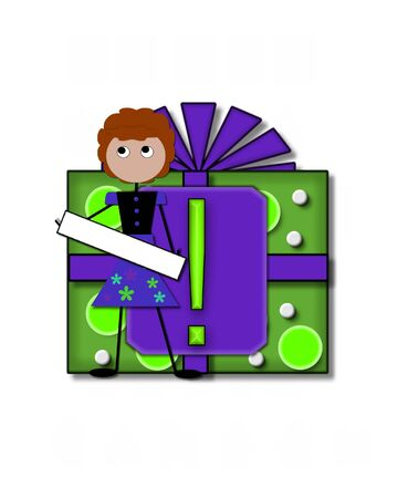 point exclamation: Exclamation point, in the alphabet set All Occasion, labels the front of a gift box complete with bow.  A stick figure stands besides gift box holding a blank sign to be labeled with your special occasion. Banque d'images