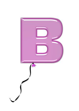 come in: The letter B, in the alphabet set Balloon Jewels, resembles an inflated balloon tied at the knot with a black curly string.  Letters, in set, come in a mixture of colors and tilting angles.
