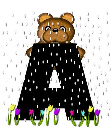The letter A, in the alphabet set Teddy April Showers, is black.  Brown teddy bear and flowers decorate letter.  Tulips bloom as April showers fall.