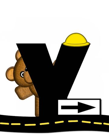 highway signs: The letter Y, in the alphabet set Teddy Highway Work, is black and sits on black highway. Teddy bear, hard hat, and highway signs decorate letter.
