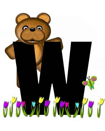 picking: The letter W, in the alphabet set Teddy Picking Flowers, is black.  Teddy bear picks tulips and butterfly flutters overhead.