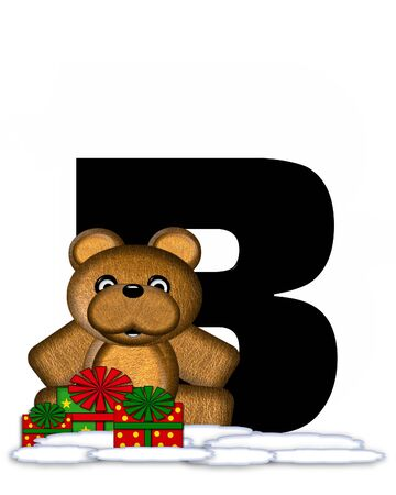 The letter B, in the alphabet set Teddy Christmas, is black and sits on pile of snow.  Teddy Bear and presents decorate each letter.