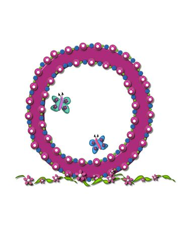 Letter O from Bead Alphabet is deep rose in color.  Letter is outlined completly in pink, blue and green beads and balls.