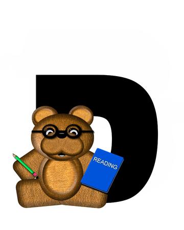 scrap book: The letter D, in the alphabet set Teddy Learning, is black. Teddy bear decorates letter and he is wearing glasses.  Books and pencils surround him. Stock Photo