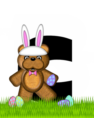 The letter C, in the alphabet set Teddy Easter, is black. Teddy wears an Easter Rabbit costume and hunts Easter Eggs hidden in the grass. Stock Photo