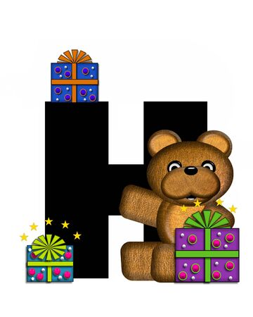 gift wrapped: The letter H, in the alphabet set Teddy Gifts Galore, is black.  Teddy bear, gift wrapped packages and stars decorate letter. Stock Photo