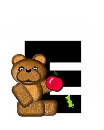 e white: The letter E, in the alphabet set Teddy, is black with white background.  Borwn Teddy Bear decorates letter. Stock Photo