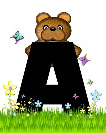 grassy field: The letter A, in the alphabet set Teddy Butterfly Field, is black.  Teddy bear chases colorful butterflies across a grassy field with wildflowers. Stock Photo
