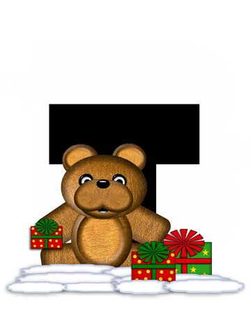 teddy bear christmas: The letter T, in the alphabet set Teddy Christmas, is black and sits on pile of snow.  Teddy Bear and presents decorate each letter.